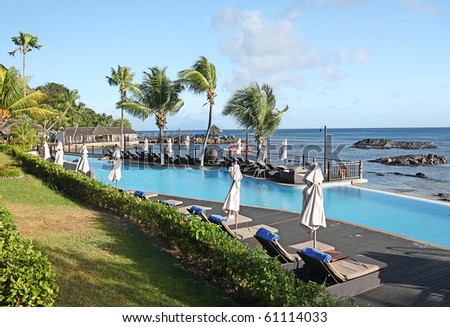 Luxury stylish Hotel Accommodation on Mahe in The Seychelles - stock photo