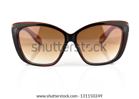 luxury sunglasses isolated on white background - stock photo
