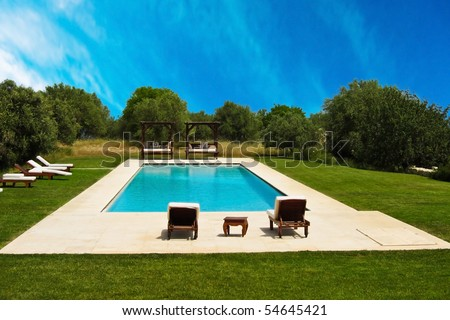 Luxury swimming pool - stock photo