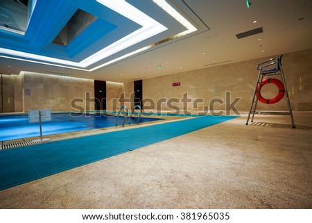 Luxury swimming pool interior.
