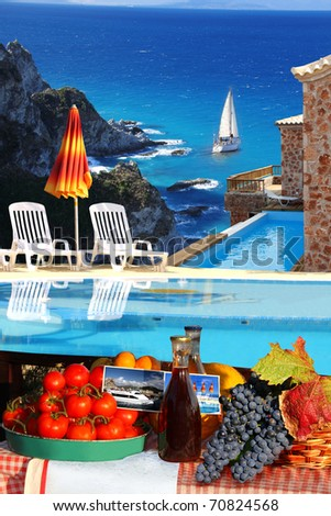 Luxury swimming pool with full table of fruit and wine