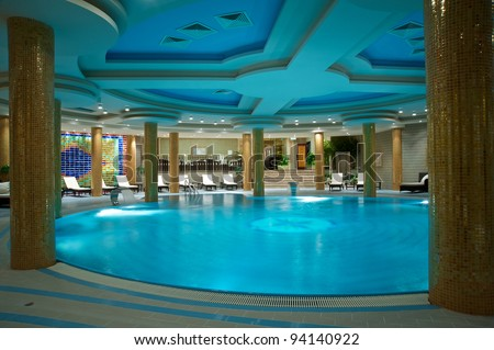 Luxury swimming pools in a modern hotel