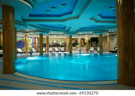 Luxury swimming pools in a spa hotel - stock photo