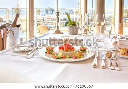 luxury table in restaurant - stock photo