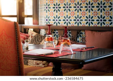 Luxury Table Setting In Restaurant - stock photo