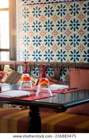 Luxury Table Settings In Restaurant - stock photo