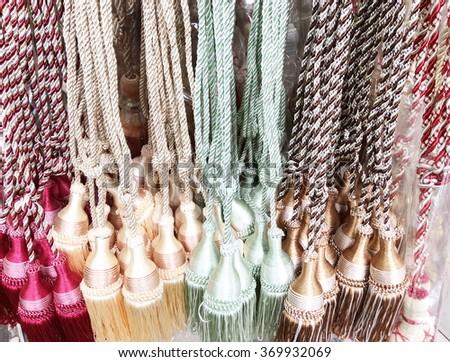 Luxury tassels for beautiful curtain - stock photo