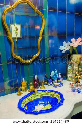 Luxury toilet, decorate in marine style interior - stock photo