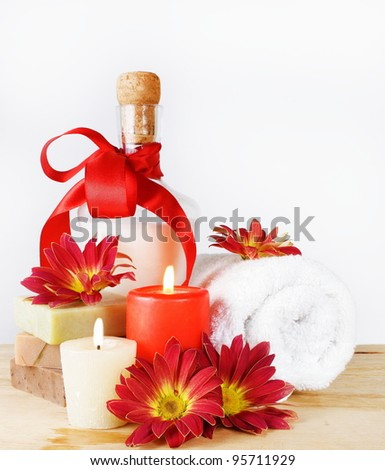 Luxury Toiletries Set with Red Flowers and Candles