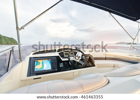 Luxury traveling. Interior of modern motor yacht.