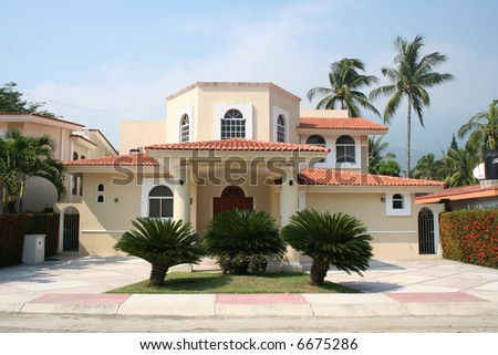Luxury tropical home - stock photo