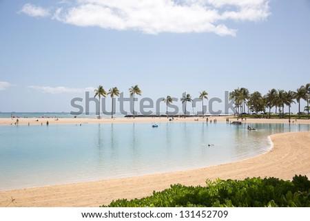 Luxury tropical hotel resort/waikiki beach hawaii - stock photo