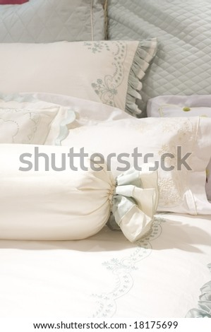 luxury upscale bedding and linens - stock photo