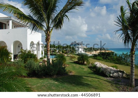 Luxury villa in La Samanna St Martin - stock photo