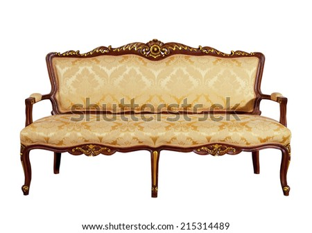 Luxury vintage gold couch solid wood frame isolated on white background