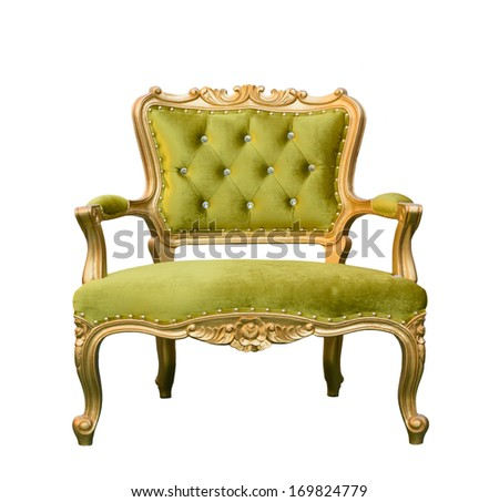 Luxury vintage green couch isolated on white background