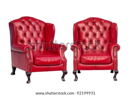 Luxury vintage red armchair on white background - stock photo