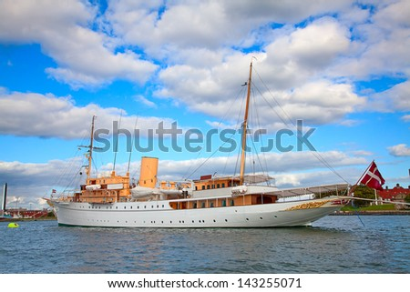 Luxury vintage yacht in Copenhagen harbor - stock photo