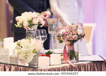 Luxury violet wedding decor flowers presidium stock photo royalty luxury violet wedding decor with flowers at presidium the newlywed junglespirit Image collections