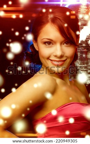 luxury, vip, nightlife, party, christmas, x-mas, new year's eve concept - beautiful woman in evening dress with disco ball - stock photo