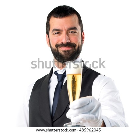 Luxury waiter with champagne