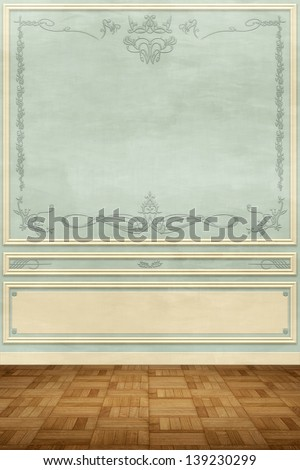 Luxury wall design with carvings - stock photo