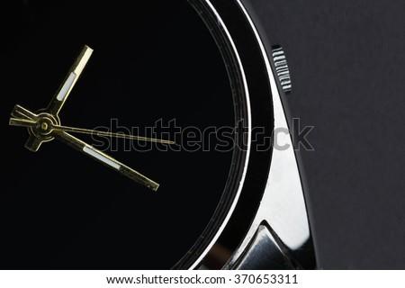 luxury watch on black background - stock photo