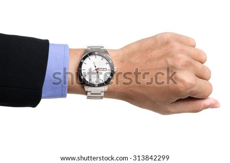 luxury watch on men's wrist over white background - stock photo