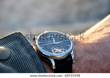 Luxury watch showing delay time - stock photo