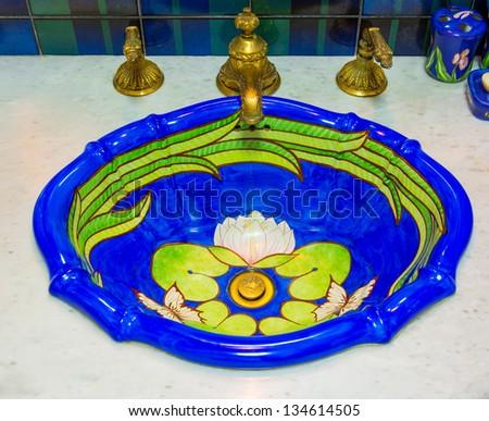 Luxury water sink, decorate in marine style interior - stock photo