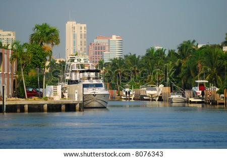 Luxury waterfront real estate - stock photo