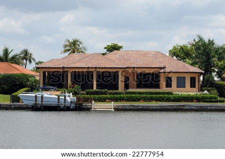 Luxury waterfront real estate for sale in Florida - stock photo