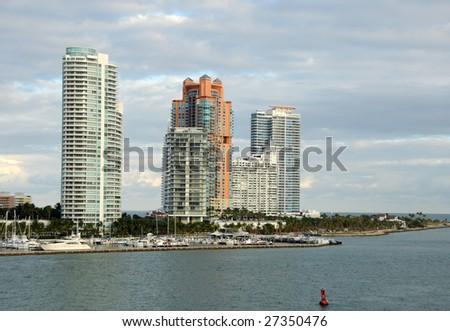 Luxury waterfront real estate in Miami Beach, Florida - stock photo