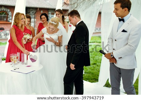 Luxury wedding outdoors ceremony under the wedding tent