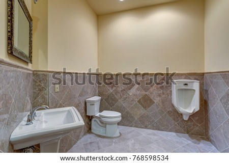 Luxury wedding venue interior features new stock photo image luxury wedding venue interior features new powder room with light taupe walls accented with gray tile aloadofball Gallery