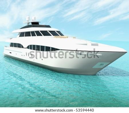 luxury white cruise yacht - stock photo