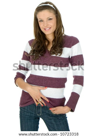 Luxury woman posing and smiling on white background
