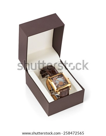 Luxury woman watch in box isolated on white background - stock photo