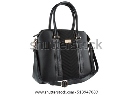 Luxury women leather handbag, black color