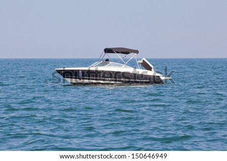 luxury yacht in the sea. speed boat - stock photo