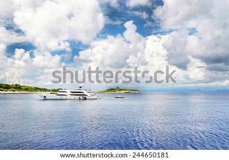 Luxury yacht ,Ionian Sea ,Greece. - stock photo