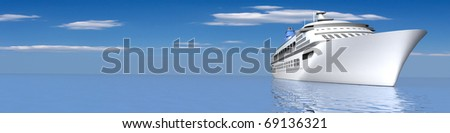 luxury yacht, panoramic view with empty space - stock photo
