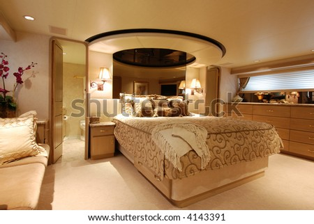 Luxury Yacht Stateroom - stock photo