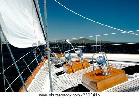 Luxury Yacht  Under Sail - stock photo