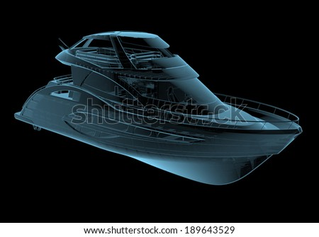 Luxury yacht x-ray blue transparent isolated on black - stock photo