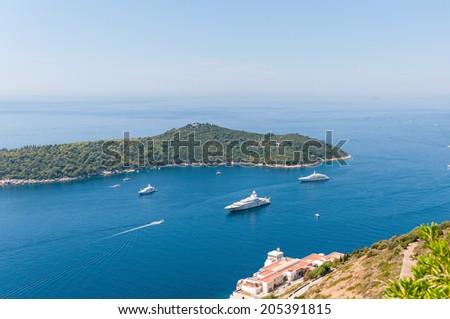 Luxury yachts at the Lokrum Island on Adriatic Sea near Dubrovnik, Croatia - stock photo