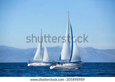 Luxury yachts. Boats in sailing regatta.  - stock photo