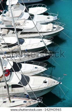 Luxury yachts in harbor of Monaco - stock photo