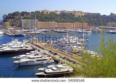 Luxury yachts in sea port of Monte-Carlo, Monaco - stock photo