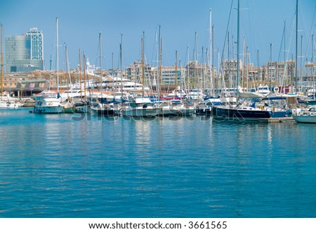 Luxury yachts in the Barcelona marina - stock photo